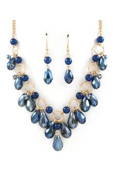 Briella Necklace in Sapphire Crystal #Beads #Necklace #Blue #Gold #Dangle #Crystal #Round #Teardrop
