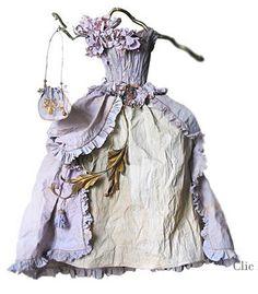 Fairy dress, (paper) from; Le Jardin de Miss Clara Fairy Clothes, Doll Clothes, Miss Clara, Paper Clothes, Paper Dresses, Paper Dress Art, Color Lila, Fairy Dress, Fairytale Dress