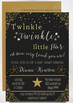 Twinkle Twinkle Baby Shower Invitations New Twinkle Little Star Baby Shower Invitation 4 Boho Baby Shower, Baby Shower Invites For Girl, Baby Shower Themes, Shower Ideas, Boy Shower, Baby Shower Centerpieces, Baby Shower Decorations, Stork Baby Showers, Baby Shower Invitations