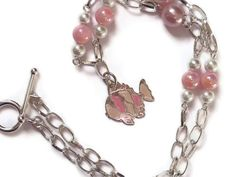 Pastel Fish Necklace Pearls Pink Cream Silver