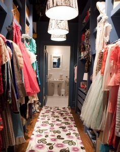 Navy walk in closet