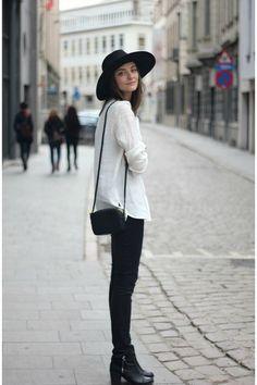 black boots - black jeans - black hat - white shirt - black bag