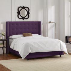 Skyline Furniture Nailhead Trim Button Tufted Purple Velvet Wingback Bed (California King)
