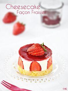Mini cheesecake façon fraisier, sans cuisson, vite fait, bien fait !