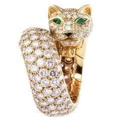 CARTIER PANTHER Diamond Emerald Enamel and Gold Ring   From a unique collection of vintage fashion rings at https://www.1stdibs.com/jewelry/rings/fashion-rings/