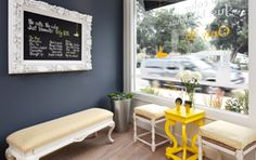 salon entry- love the frame idea for services and the wall color