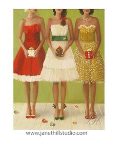 Christmas Belles.  Weihnachten-Kunstdruck. von janethillstudio