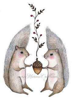 Squirrel acorn art print Harvest Come par MarmeeCraft sur Etsy