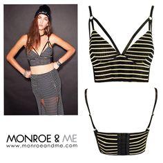 Fall in Line Bralet 115 AED #eviltwin #stripes #monochrome #crop #sale #blackandwhite #monroeandme #dubai #abudhabi #mydubai #uae #fashion #clothing #trend #style