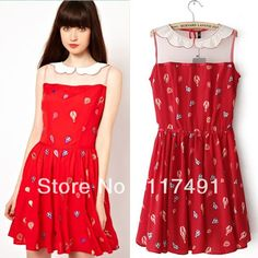 Aliexpress.com : Buy free shipping 2013 fashion womens brand College style doll collar Wire Mesh stitching balloon print dress ladies elegant ft063 from Reliable designer dress suppliers on 1218-forever