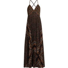 A.L.C. Katia scarf-print pleated dress (€395) ❤ liked on Polyvore featuring dresses, brown multi, boho style dresses, multi-color dresses, boho dresses, pleated dresses and bohemian dresses