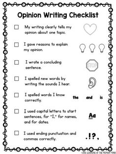 First grade opinion writing checklist Paragraph Writing, Persuasive Writing, Teaching Writing, Essay Writing, Opinion Paragraph, Kids Writing, Writing Ideas, Writing Activities, Opinion Writing Topics