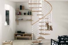 Kloe Spiral Staircase Kit stair with beech treads and stainless steel cabling balustrade for easy installation Spiral Staircase Kits, Black Staircase, Staircase Landing, Wood Staircase, Floating Staircase, Staircases, Under Stairs Storage Solutions, Stair Kits, Stair Storage