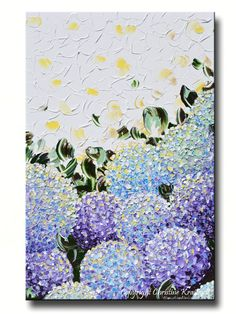 """Blooming Hydrandgea"" Impasto Painting, giclee print, art abstract hydrangea flower painting modern purple lavender light blue yellow flowers delicate petals in garden, contemporary impressionist.  Browse wall art / gallery paintings / home decor – by Internationally Collected Artist, Christine Krainock"
