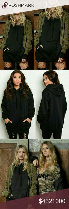 COMING SOON!!! Black Distressed Hoodie Super cute black hoodie can be worn as top or dress. Tops Sweatshirts & Hoodies