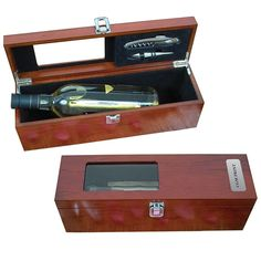 Rosewood Wine Kit:  Attractive Rosewood Felt lined box with hinged lid includes: - compartment for a 750 ml bottle of wine (not included) - clear cut-out to display wine bottle - multi function stainless steel corkscrew and bottle stopper - Individually boxed. Call 1-800-567-9089 or email marketing@craftwell.com Wine Kits, Bottle Stoppers, Wine Rack, Stainless Steel, Storage, Gift Sets, Gifts, Email Marketing, Felt