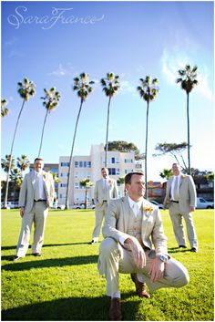 Darlington_House_Wedding ~SARA FRANCE PHOTOGRAPHY~ Groom. Groomsmen. Wedding Party. Dressed up. Palm Tress. San Diego.