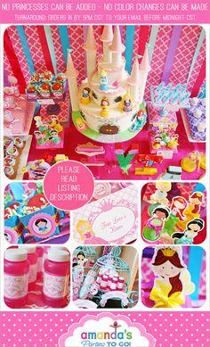 Princess Party Printable - Princess Birthday -Cinderella - Belle - Ariel -  Tiana - Rapunzel -Huge Party Set by Amanda's Parties TO GO