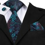 Luxury Floral Paisley Mens Blue Red Tie Gravata Pour Homme Male Silk Ties For Men Business Wedding Necktie Wide Men's Pocket Squares, Tie And Pocket Square, Paisley Tie, Cufflink Set, Tie Styles, How To Wear Scarves, Tie Set, Silk Ties, Bow Ties