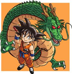 Kid Goku and Shenron.