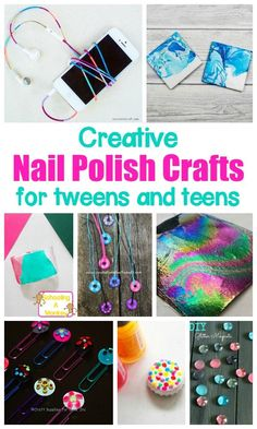 Colorful and Creative Nail Polish Crafts for Kids Nail polish isn't just for nails! These nail polish crafts for kids are kid-friendly nail polish crafts and are simple and fun for kids! Crafting Dead Reborn concerning Crafting Enchantment Table beyond Cr Kids Crafts, Diy Crafts For Teen Girls, Arts And Crafts For Teens, Easy Arts And Crafts, Easy Diy Crafts, Diy For Teens, Crafts To Do, Teen Summer Crafts, Art Ideas For Teens