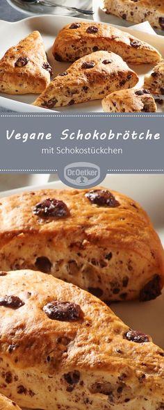 Vegane Schokobrötchen: Hefebrötchen vegan mit Schokostückchen