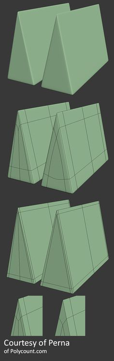 Hard Triangles Two examples of how to make a sharp edged triangular prism using only quads. -Courtesy of Perna