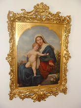 century painting oil on canvas depicting the Holy Virgin and Child: Removed Frame Stand, Madonna And Child, Antique Paint, Blessed Virgin Mary, Blessed Mother, Art Studies, Wood Carving, Holi, Oil On Canvas