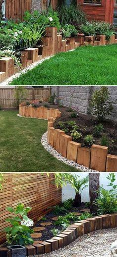 Back Garden Design, Garden Landscape Design, Backyard Layout, Backyard Patio, Back Gardens, Outdoor Gardens, Railway Sleepers Garden, Wood Garden Edging, Tiered Garden