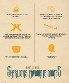 """bakerstreetbabes: """" theblueboxboy: """" Artist Beauvoire has created three very cool posters based on the BBC's Sherlock. Each poster features 6 quotes from the main characters Sherlock, John and. Sherlock Fandom, Benedict Cumberbatch Sherlock, Sherlock Quotes, Sherlock John, Jim Moriarty, Watson Sherlock, Benedict And Martin, John Martin, Vatican Cameos"""