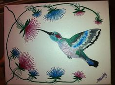 Hummingbird Floral - SOLD   Interested?  I can do another like this for you.  Just contact me at mandyterry@gmail.com
