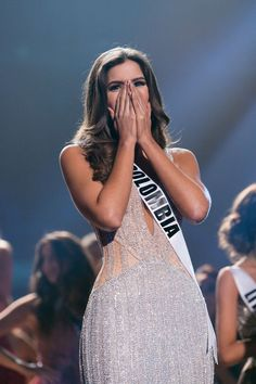 Paulina Vega who represented Colombia awaited the announcement of a lifetime as she was crowned Miss Universe. Pageant Girls, Pageant Dresses, Miss Universe 2014, Miss Colombia, Colombian Girls, Miss Independent, Diva Quotes, Latin Girls, Couture Fashion