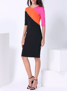 Black Color-block Half Sleeve Midi Dress
