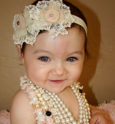 20 off entire orderAntique flower headband baby by WinterScarlett, $15.99