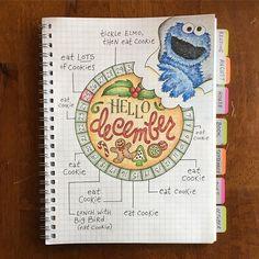 Cookie Monster's Bullet Journal ........ #bulletjournal #bujo #bujocommunity #planneraddict #plannerlove #plannergirl #plannercommunity #plannernerd #bujojunkies #bujolove #bohoberrytribe #handlettering #handwritten #bulletjournal #showmeyourplanner #bulletjournaling #bulletjournalcommunity #bulletjournaljunkies #planwithmechallenge #calendarwheel #cookiemonster #december #christmas #sesamestreet