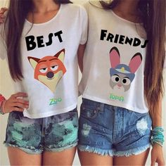 Best Friends Zootopia Crop Top Item Type: Tops Tops Type: Crop Top Tees Gender: Women Brand Name: East Knitting Style: Novelty