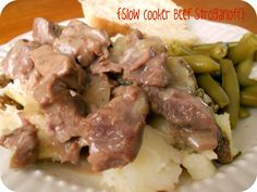 Six Sisters' Stuff: Slow Cooker Beef Stroganoff {Freezer Meal} - When I reheated the frozen leftover, I added 1/2 a can of cream of mushroom soup to make it creamy again.