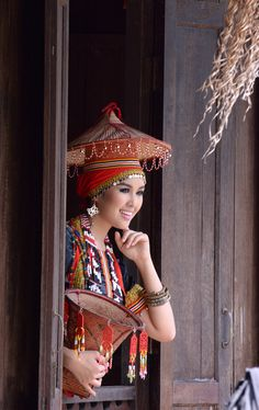 Traditional dress in Sarawak, Malaysia. Sarawak is one of the two Malaysian states on the island of Borneo.