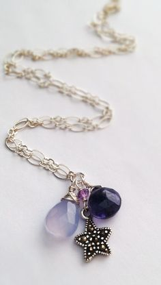 Faceted Iolite Moonstone Star Marcasite Charm,Beautiful,
