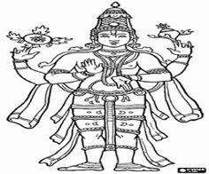 Colorear El dios hindú Vishnú