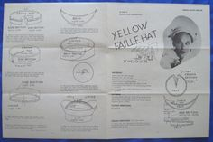 vintage Good Housekeeping YELLOW FAILLE HAT millinery accessory sewing pattern   eBay