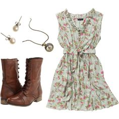 Vintage Outfit, I like the dress, and I really want combat boots like those, in brown or black