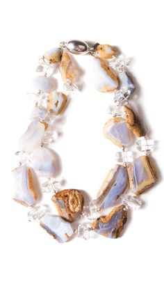 Matrix Blue Lace Agate and clear Agate necklace. Chunky beauty.