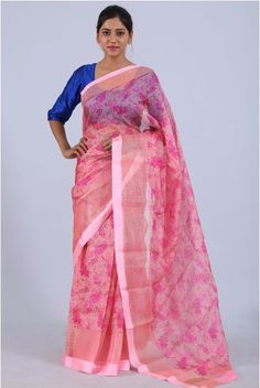 Candy Pink Color Silk Kota Printed Sari With Pink Net Border | Price 5150  Kota doria or Kota Sari is sari garments made at Kota, Rajasthan. Sarees are made of pure cotton and silk and have square like patterns known as khats on them. The khats of Kota that are a result of traditional pit loom give these Kota sarees a translucent look and make them airy. They are very fine weaves and weigh very less...