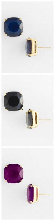 rich colors for fall love these classic kate spade square stud earrings