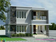 4 bedroom flat roof 1200 square feet small double storied house plan by Spaceone Architectural Consultants, Calicut, Kerala. Duplex House Design, Modern House Design, Architectural Consultant, Double Story House, Flat Roof House, Kerala House Design, Kerala Houses, House Elevation, Modern Architecture House