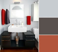 """For her own bathroom, the Vancouver designer painted walls in Benjamin Moore's White Water (2120-60) and added drama with a vanity cabinet in Silhouette (AF-655). The living room adjacent to this space has a feature wall in Salsa Dancing (AF-280), which she carried into the bathroom with bold towels. She loves that the palette combines cool neutrals with warm accents, and admits the red is unexpected. """"I gravitate toward blues and green-greys, perhaps because they reflect the west coast's…"""