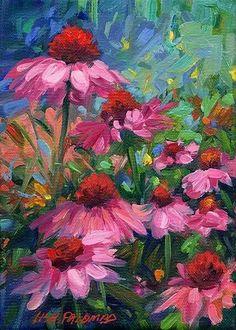 Pretty pink flowers intermediate painting idea. Impressionist style. Lisa Palombo