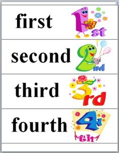 ~ Cute Free Ordinal Words and Numbers (1-10) Word Wall Cards plus Title Card   ~ Ordinal Words and Numbers (1-10) Matching Activities...