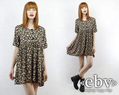 #Vintage #90s #Grunge Black Floral Babydoll Mini #Dress, fits S/M/L by #shopEBV http://etsy.me/1rpDg9n via @Etsy #etsy #softgrunge, $48.00